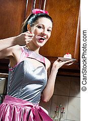 funny lovely girl brunette young pinup woman eating...