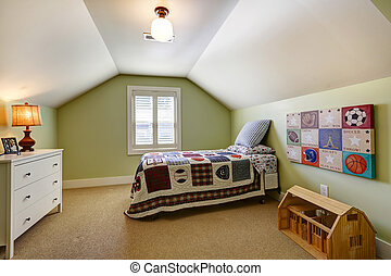 Simple bedroom interior with vaulted ceiling and light green...