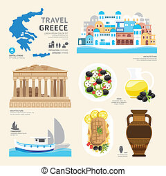 Travel Concept Greece Landmark Flat Icons Design .Vector...