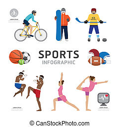 Infographic Health Sport and Wellness Flat Icons Template...