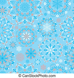 Vector blue snow pattern - Winter blue illustration with...
