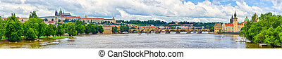 Panorama in Prague - with Charles Bridge and Hradcany hill,...