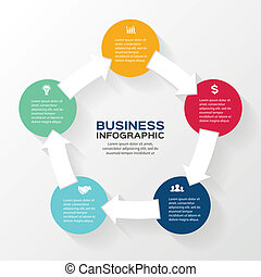 Vector circle arrows infographic diagram 5 options - Vector...