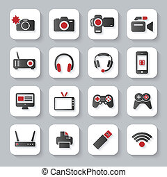 White flat multimedia devices icons - White flat modern...