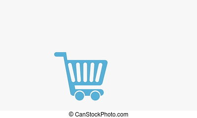 Shopping cart with icons on white background, Animation...