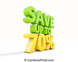 Save up to 70% - The phrase Save up to 70% on ? white...
