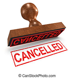 3d Cancelled rubber stamp - 3d render of a rubber stamp,...