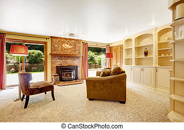 Comfortable family room with brich fireplace