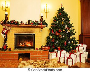 Christmas decorated house interior with fireplace