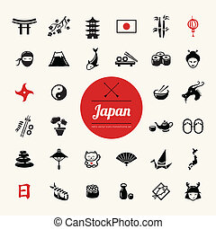 Set of flat design Japanese icons - Set of vector flat...
