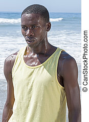 Sweaty and determined - Young lean sweaty African American...