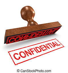 3d Confidential rubber stamp - 3d render of a rubber stamp,...