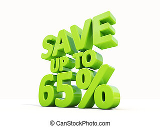 Save up to 65 - The phrase Save up to 65 on white background...