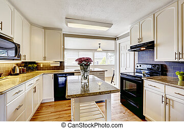 Kitchen room with island and granite tops