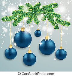 Blue Baubles Snow Lights Red Ribbon Fir Branch