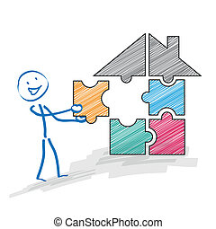 Stickman Puzzle House - Stickman with a puzzle piece and a...