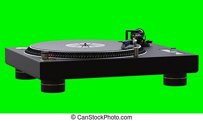 Turntable spinning vinyl records on green chroma key...