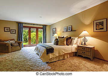 Master bedroom interior with exit to backayrd.
