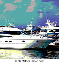 Luxury Motor Yacht Posterized - Vector marine background in...