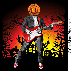 Vector Halloween scary punk man with the guitar
