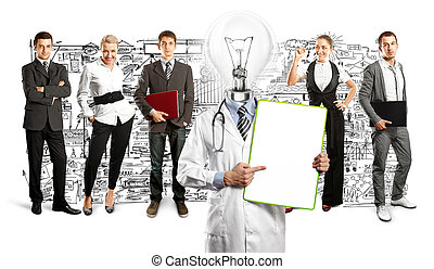 Business Team With Lamp Head Doctor - Idea concept Lamp Head...