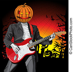 Punk With The Guitar Hallo - Vector Halloween scary punk man...