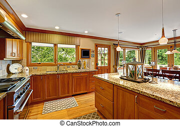 Large kitchen room with decorated island