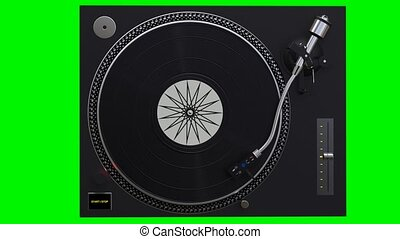 Turntable spinning vinyl records on