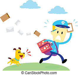 Dog Chasing A Mailman - A dog chasing after a mailman (in...