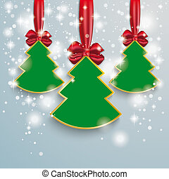3 Christmass Tree Snow Lights Red Ribbon - Snow with stars,...