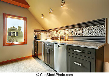 Dark green kitchen cabinets with back splash trim, steel...