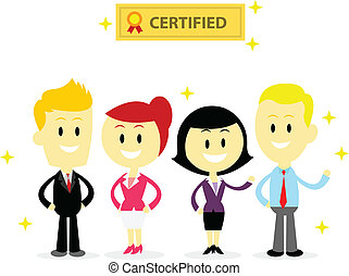 Certified Professional Employees in Flat Cartoon Style