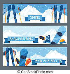 Winter extreme sports banners with mountain winter landscape...