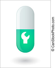 Pill with a monkey wrench - Illustration of an isolated pill...