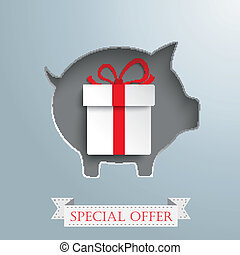 Piggy Bank Shopping Bag Silver Background Gift - Vintage...