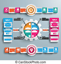 Gear 4 Options Big Infographic 2 Circle Banners - Gear with...