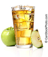 Apple juice with ice - A glass of an apple juice with ice...