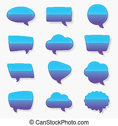 Multiple glossy text bubble set