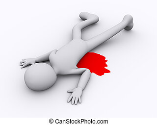 3d dead person - 3d illustration of murder killed man 3d...