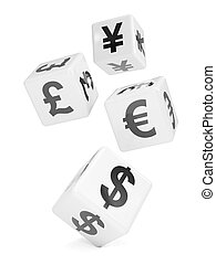 3d Falling white dice marked with currency symbols - 3d...