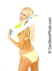 bikini - pretty long hair blond woman in yellow bikini