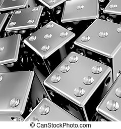 3d Silver dice - 3d render of lots of silver dice