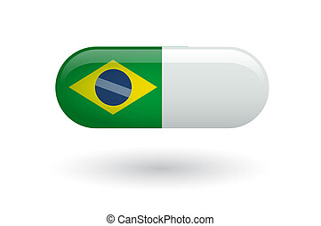 Pill with a flag of Brazil