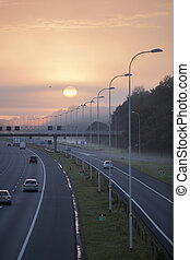 fog in the morning on highway A28 near Utrecht De Uithof -...