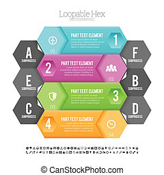 Loopable Hex Infographic - Vector illustration of loopable...