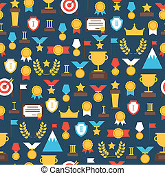 Seamless pattern of award icons Vector colorful set of...
