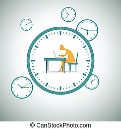 Working Around the Clock - Vector illustration of man...