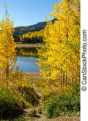 Fall in Steamboat Springs Colorado - Dirt hiking trail...