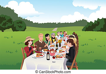 People eating in a farm table - A vector illustration of...