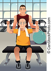 Personal trainer training an elderly man - A vector...